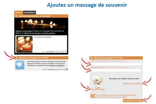 Cliquez sur Déposez un message de Souvenir. Une fenêtre s'ouvre, cochez la dernière case pour un message gratuit. Après avoir saisi un mail et un pseudo, votre prénom par exemple, vous pourrez choisir une autre image et un message dans la liste proposée